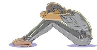 Einsamer Mann traurig rudert Übungspartnerin